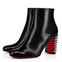 Hot Nuevo elegante Suzi Folk Boots de tobillo, Rojo de vino, con gamuza negra Lady Rojo Bottle Boot Fomen Tacones Chunky Tacones Invierno Bota de moda con caja