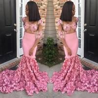 2020 Abiti appliqued nuovo disegno di colore rosa sexy promenade della sirena del collo puro vestiti convenzionali eleganti abiti da sera abiti de soiree
