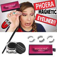 Phoera Magnetic False 속눈썹 액체 아이 라이너 브러쉬 키트 가짜 속눈썹 지속적인 눈 라이너 젤 3D 속눈썹 메이크업 세트