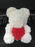 24pcs Bear de Roses avec coeur Fleurs artificielles Fête de mariage bricolage bon marché décoration de mariage Couronne Artisanat meilleur Giftamazzz