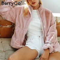 BerryGo Casual warm long sleeve faux fur coat women Autumn w...