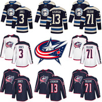 Хоккейные майки мужские 2018-2019 New Columbus 3 Set Jones Blue Jackets 13 Cam Atkinson 71 Nick Foligno Сшитая майка