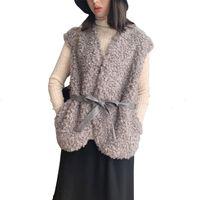 Automne Hiver fausse fourrure Femmes Gilet Manteau Teddy Gilet Mode Gilet sans manches en peluche Casual Femme chaud Veste Slim-vêtement