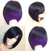 pelo sintético recto de señora Short manera de las mujeres calientes de DHL FREESHIPPING pelucas multicolor pelo rizado vino verde púrpura pelo pista pelucas-128