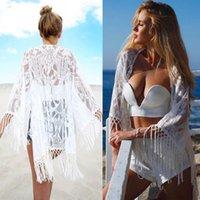 cover-ups 여름 해변 블라우스 여성 비키니 레이스 크로 셰 뜨개질 튜닉 hollow out tassel robe cover kimono swimsuit 수영복