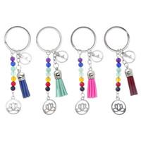Мода брелки Симпатичные Healing Кристалл камень Chakra Помолитесь автомобилей Key Chain кисточкой брелоков сумка Подвеска женщин ювелирных аксессуаров подарков
