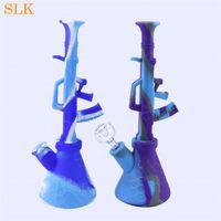 11-дюймовый стакан бонг AK-47 пулемет Стеклянные бонги Пьяные наборы для трубок для кальяна кальян толстое стекло Dab Rig Силикон для курения Табак для трубок Портативный