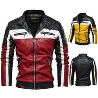Mens moda giacche Via Rosso Giallo giacca di corrispondenza pelle moto Streetwear casual Outwear M-4XL