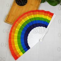 Nuovo LED dell'arcobaleno palmare ventaglio pieghevole stile retrò arcobaleno ventola di compleanno laurea vacanza partito puntelli T3I5669