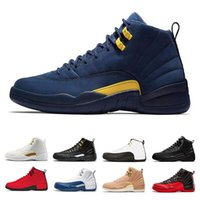 Mens basketball shoes 12 12s Bordeaux Dark Grey Wolf Flu Gam...