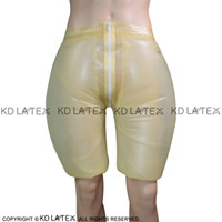Transparente inflable Sexy Látex Pierna boxer con la cremallera de la boquilla de goma Boy Pantalones cortos Pantalones Ropa interior Calzoncillos DK-0149