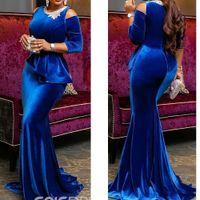 Elégante robe de bal de sirène bleue 2020 perlée jeux de colle velours de plancher de plancher de soirée de soirée de soirée vêtements de soirée vestido de festa abendkleider