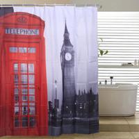 London Big Ben Dusche Vorhänge Berühmte Stadt Wahrzeichen Muster Paris Dusche Vorhang Mode Polyester Stoff Badezimmer Vorhänge 180cm * 180cm