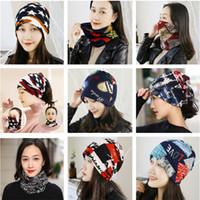 Quente multifuncional Inverno Beanie Hat Letter Print Pattern Mulheres Primavera Outono Cap Moda Beanie pode ser usado como Scarf 2020
