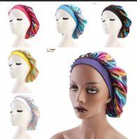 Müslüman kadınlar geniş streç ipek saten nefes bandana gece uyku türban şapka headwrap bonnet kemo kap saç aksesuarları