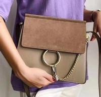 Clássico Cadeia Mulheres Suede Handbag do anel do círculo Bolsas de Ombro Mulheres Flap cadeia saco de Bandoleira Sacos Bolsas Mensageiro Bolsa