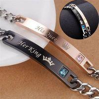 Paar Armband Einzigartige Romantische Schmuck Ihr König Seine Königin Brief Kristall Legierung Armbänder Für Valentinstag