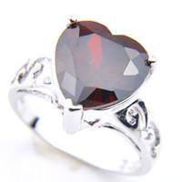 Regalo Classic 5 lotto dei pc della mamma Cut a forma di cuore rosso granata anelli in argento sterling 925 placcato per le donne anelli di Zircon Gioielli