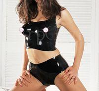 설정 도매 새로운 패션 성형 여성 라텍스 옷은 브래지어와 반바지 고무 속옷 세트를 포함