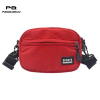 Unisex Moda Hombro Crossbody Bolsos Teen Boys Girls Nylon Messenger Bags Zipper Women Clutch Bag Men Totes Pack Red Bolsa