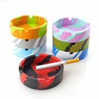 Soft Silicone Ashtray Round Luminous Mini Ash Tray Portable Anti-scalding Cigarette Holder Home Novelty Crafts Smoking Accessories