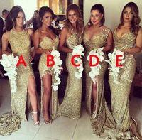 Altın Payetli Sparkly Nedime Elbiseler 2020 Jewel Split Aplikler Uzun 5 Stilleri Mermaid Düğün Konuk Partisi Abiye Artı Boyutu Özelleştirilmiş