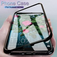 Huawei P20 Kılıf için 360 Manyetik Adsorpsiyon Durumda P20 Onur P10 Nova 3e Huawei P20 için Lüks Mıknatıs Temperli Cam Durumda Mate 9 20 Lite Pro