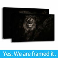 Negro imágenes del león de la decoración sencilla Animales Arte impresión de HD en lona del aceite de Pintura - listo para colgar - enmarcada