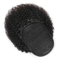 Pérou Ponytails Afro Kinky Curly 100 g / Mettre un morceau Extensions de cheveux bouclés Ponytail gros Virgin 100% Hairs Cheveux