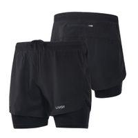 Gli uomini di 2-in-1 Pantaloncini da corsa di secchezza rapido respirabile Active Training esercizio jogging ciclismo pantaloncini con Longer Liner CS Y8253B-S