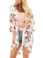 Crème solaire Chemisier Floar Imprimé à manches longues Cap Femmes Mode en vrac Manteau Eloignez les vêtements Bask Summer Beach en mousseline de soie
