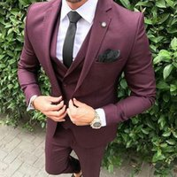 Casual Burgundy Men Suits Wedding Tuxedo Trajes de hombre Groomsmen Outfits Prom Party Groom 3piece melhor homem Blazer Costume Terno Masculino