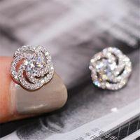 Handgemaakte vrouwen mode-sieraden 925 sterling zilveren ronde gesneden wit topaz cz diamant edelstenen vrouwen bruiloft rose bloem oorbel cadeau