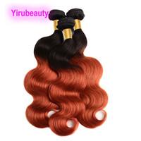 1B 350 الشعر العذراء البرازيلي ثلاث حزم اثنين نغمات لون الجسم موجة 10-28inch مزدوجة لحمة 3 قطع / الكثير 100٪ الانسان الشعر مصبوغ 10A