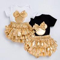 ملابس الطفل مجموعات السروال القصير فتاة القوس العصابة زر الرضع بذلة الطفل الوليد قمم مجموعة + تنورة داخلية الأزياء وتتسابق GGA3507