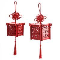 Linterna de la caja del caramelo rojo chino de madera regalos de boda del corte del laser caja del caramelo de la boda de compañeros de las cajas del favor
