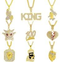 Bling bling dégelée à collier hip hop punk hommes femmes couronne tête de lion collier pendentif roi