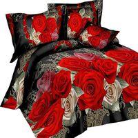 Conjuntos de ropa de cama URIJK 3 / 4PCS Impresión 3D Leopard Tiger Rose Lion Flower Soft Duvet Funda de cama Conjunto de almohada Dorp Dorp