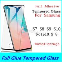 Cola completa de vidro temperado para samsung galaxy s10 s9 s8 plus lite para samsung note 10 9 8 s7 edge filme protetor de tela