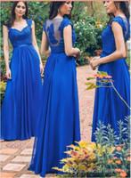 Aline Royal Blue Vestidos de dama de honor Top de gasa de encaje Fiesta de novias Elegante noche Vestidos formales 2018
