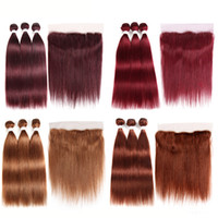 Pre- Colored Brazilian Human Hair Straight Hair Bundles With ...