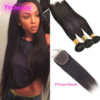 Malaysian Virgin Hair 3 Bundles With 5*5 Lace Closure Natura...