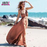 Повседневные платья Jastie Tranchy Hollow талия Deep V-образным вырезом Макси без спинки Halter шеи с кисточкой галстук сексуальное платье Летние бохо Бич Vestidos