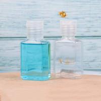 30 ملليلتر اليد المطهر زجاجة بلاستيكية الحيوانات الأليفة مع فليب أعلى كاب واضح زجاجات شكل مربع لمستحضرات التجميل، جوهر