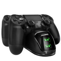 Schnelle Lade PS4 Dock Dual-Controller-Ladegerät Ladestation Gamepad Standplatz-Halter-Unterseite für SONY PlayStation 4 PS4 / Pro / Schlank