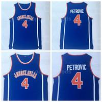 NCAA College 4 Drazen Petrovic Jersey Men Basketball Jaunesy Jerseys pas cher Vente Équipe Université Couleur Bleu Top Qualité en vente