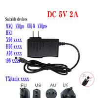 US-kontakten Power Adapter Output DC 5V 2A 2000mA ingång AC 100V-240V Strömförsörjning 5.5mm 2.1mm för MXQ MXQPRO X96 Mini Max Mate A95X H96 T95 X96Q TV Box 220V EU AU UK