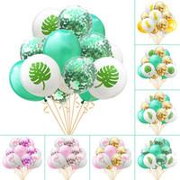 15 pçs / set 12 polegada Flamingo Abacaxi Folha De Tartaruga Balões De Látex Confete Balões para Decoração de Casamento Aniversário Do Partido Havaí Decoração
