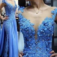 2020 элегантный синий кружева Русалка вечерние платья 3D аппликация бисером иллюзия V-образным вырезом спинки платье выпускного вечера Sexy See Through формальные вечерние платья