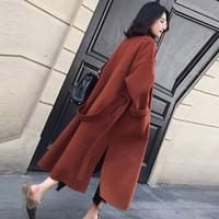 Escudo otoño invierno las mujeres de lana espesa la manga larga de longitud mediana Turn-down Collar Escudo frente abierto Parka Cinturón